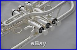 Professional silver plated Eb/D trumpet horn Monel valves with case 4.72 bell