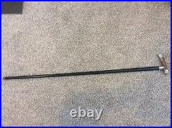 Quality Vintage Ebony Walking Stick With Horn Handle & Solid Silver Mounts 1906