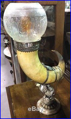 RARE 19th Century Antique SILVER PLATED Bull Horn Table LAMP with Glass Shade