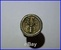 RARE medieval knightly silver button with HERALDIC HORNED HELMET