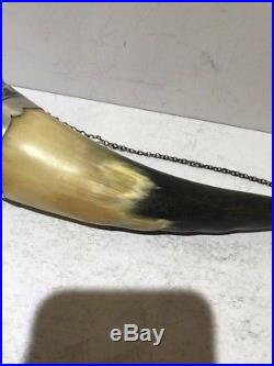RUSSIAN 875 Niello Silver Drinking Wine Horn with Bird Head