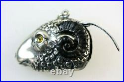 Rams Head Sheep Aries Silver Plated Match Vesta Case With Black Horns