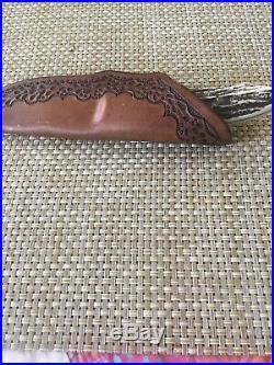 Randy Lee Custom Hunter Tapered Tang Elk Horn Handle Knife With Sheath