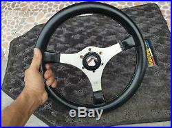 Rare 1977 Jackie Stewart MOMO Signature Steering Wheel In Silver Rare with horn