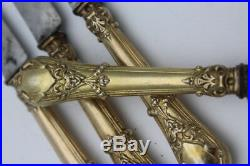 Rare Antique French Solid Silver Gilt Cutlery With Horned Faun Satyr Mascaron