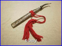 Rare Burmese Dha dagger knife silver mounted with stag horn hilt