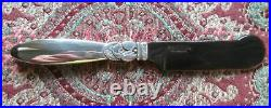 Rare Cactus Georg Jensen Caviar Knife 6 With Horn Blade, Sterling Silver