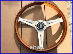 Rare No Cracks Thing Nardi Classic 36.5 Wood Polish Silver With Horn Button Old