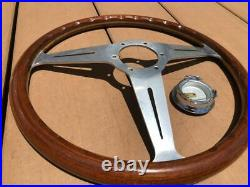 Rare Thing Nardi 36.5 Classic Wood Polish Silver With Horn Button Old Car Things