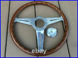 Rare Thing Nardi Classic 36.5 Wood Polish Silver With Horn Button Old Car Things