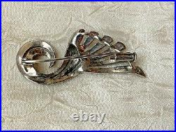Rare Victorian French Sterling Silver Brooch with Marcasite stone, Horn of Plenty