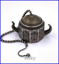 Rare antique Victorian Austrian sterling silver tea strainer infuser with horns