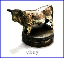 Rare old bronze silver plated bull with horns car mascot