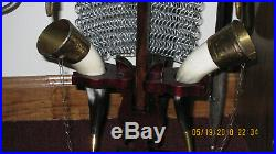 Reproduction Viking war helmet with chain mail 2 horn drinking cups & stand