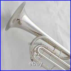 Rotary Valves Bass Trumpet Bb Silver nickel horn With case