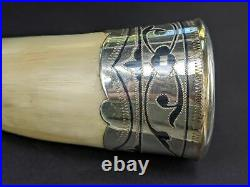 Russian silver horn shaped drinking cup vessel hallmarked with damask inlay