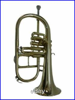 SAI MUSICAL FLUGEL HORN Bb PITCH NICKEL SILVER 4 VALVE WITH FREE HARD CASE + MOU