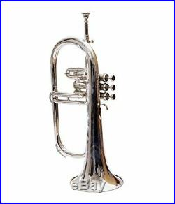 SC EXPORTS Bb Flat Silver Nickel Flugel Horn With Free Hard Case+Mouthpiece