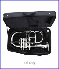 SEASON SALE Flugel Horn Nickel Plated Bb Flat 4 Valve -With Hard Case Mouthpiece