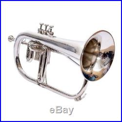 SILVER Bb FLUGEL HORN WITH FREE HARD CASE + MP MUSICAL INTRUMENT SCX UK578