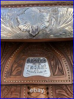 STUNNING Broken Horn Western Pleasure Show Saddle With Sterling Silver Accents