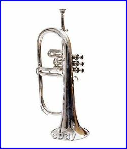 SUPERB DEAL Flugel Horn 3 Valve Bb Nickel with Hard Case MP- Silver Instrument
