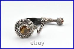 Scottish Silver and Horn Vinaigrette Scent Bottle with Cairngorm Stone & Thistle