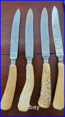 Set Of 8 Solingen Knives Rostfrei With Stag Horn Handles