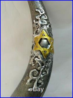 Shofar Yemenite Kudu Horn 38''+ with Sterling Silver Plated +3D Jerusalem Curved
