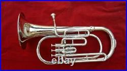Silver Baritone Horn 3 valve With free case & Mouthpiece Chrome Polish