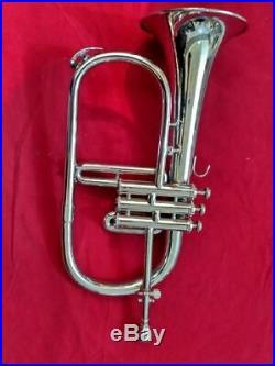 Silver Flugel Horn 3 Valve Made Of Brass Chrome Polish With Free Box & Mouth Pc