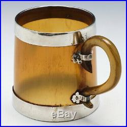 Silver Mounted Scottish Horn Mug with Masonic Symbol Edinburgh 1911