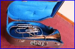 Silver Sonor Tenor Horn with Mouthpiece and Case