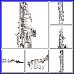 Silver Soprano Flat B Saxophone Straight Horn Sax Instrument with Clean Care Kit