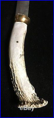 Silver Stag Antler Horned Stag Handle Hatchet With Sheath Custom Estate Rare