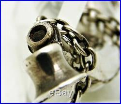 Silver Vinaigrette Fob Horn Shape with Mixed Letter Script Monogram Royal Crest