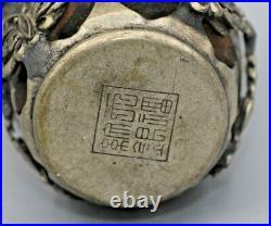 Snuffbottle Verzierungen versilbert Horn Antik snuff bottle Silver with leg horn