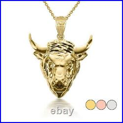 Solid Gold Or 925 Silver 3D Bull Horns Head High Polished Pendant Necklace