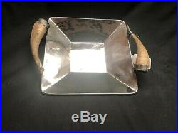 Square Alpaca Silver Tray with Naturally Shed Horn Handles