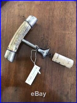 Steel Corkscrew With Antler Horn Handle And Double Capped Sterling Silver Ends