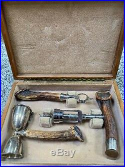 Sterling Silver John Hasselbring Horn Handle 3 Piece Bar Set With Case