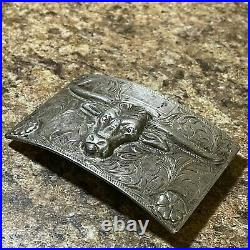 Sterling Silver Long Horn Bull Belt Buckle with RUBY Eyes (3.37 OZ)