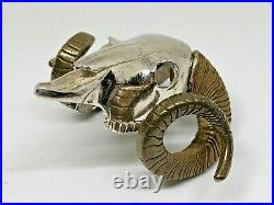 Sterling Silver Ram's Skull with/ Bronze Horns Bolo Tie