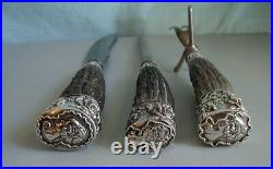 Sterling & Stag Horn Carving Set With Lady's Heads American Cutlery Co. 1880's