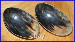 Stunning Pair Of Vintage Horn Bowls With Silver Trim Edges Lovely Decorative Set