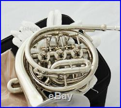 TOP NEW Bb Mini Silver nickel plated French Horn Bb key With Case