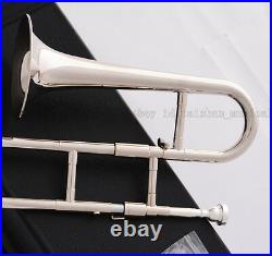 TOP New JINBAO Silver nickel Slide Trumpet Bb Soprano Trombone Horn with Case