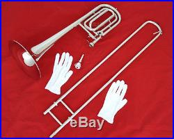 TOP QUALITY Silver nickel Plated Bass Trombone Bb/F Tone Horn With Case