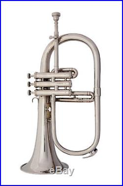 TOP SALE Brand New Silver Bb Flugel Horn With Free Hard Case+Mouthpiece