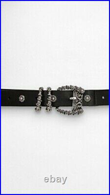 The Kooples Leather Belt With Horn Buckle And Silver Rivets Size 3, Rrp168